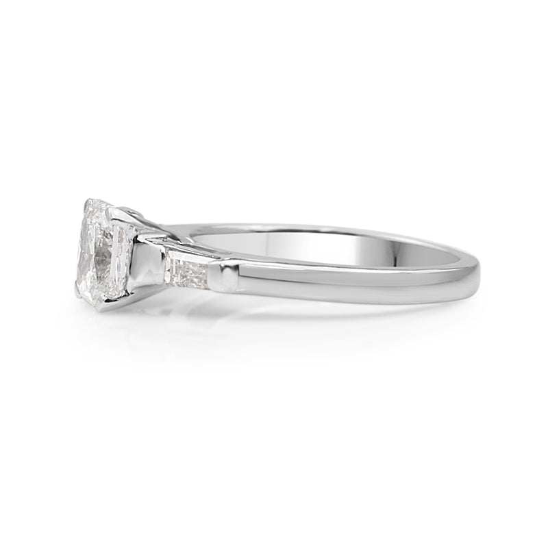 Platinum Radiant Cut Diamond Solitaire Ring