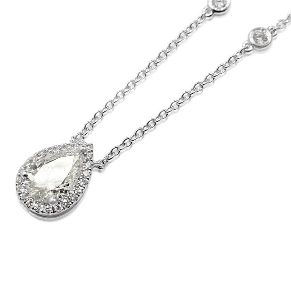 18ct White Gold Pear Diamond Drop Halo Necklace