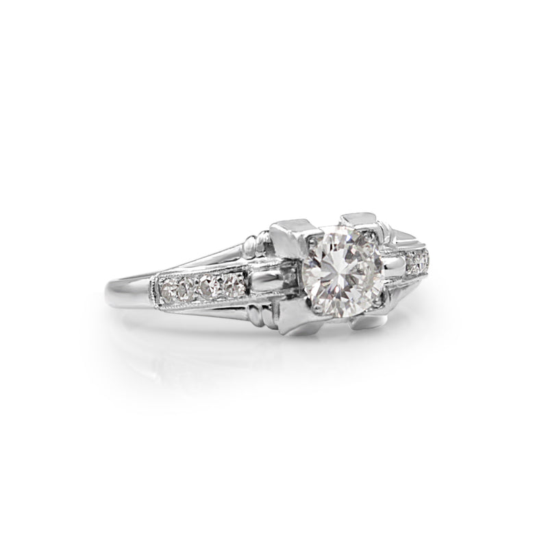 Platinum Deco Old Cut Diamond Ring