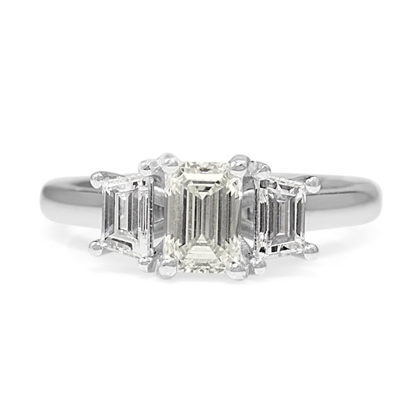 18ct White Gold 3 Stone Emerald Cut Diamond Ring