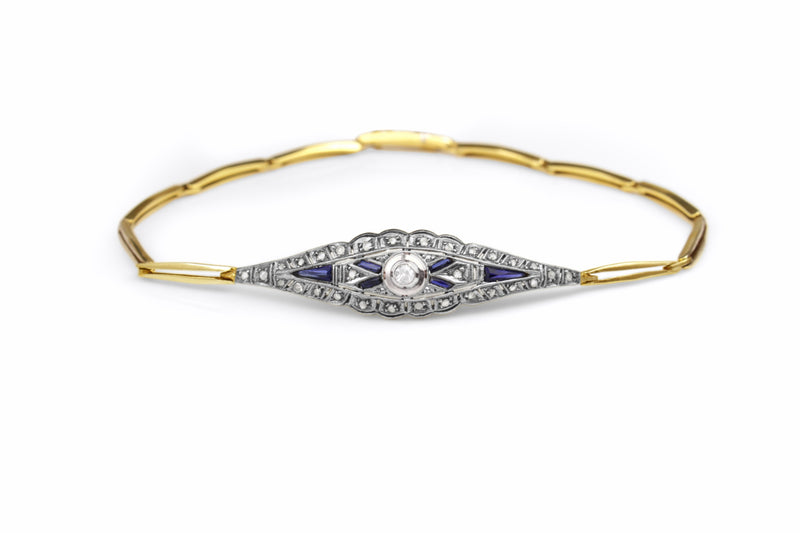 18ct Yellow and White Gold Sapphire and Diamond Art Deco Bracelet