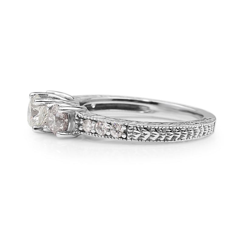 14ct White Gold 3 Stone Etched Diamond Ring