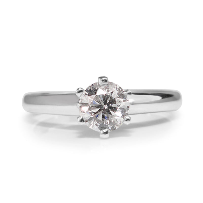 18ct White Gold Diamond 6 Claw Solitaire Ring