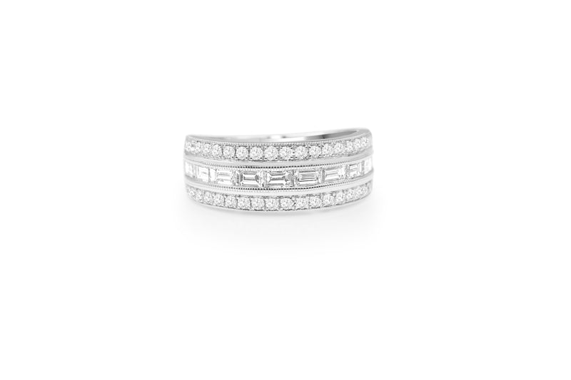 9ct White Gold Wide Diamond Band