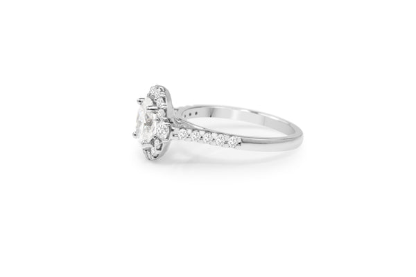 18ct White Gold Oval Halo Diamond Ring