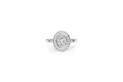18ct White Gold Oval Diamond Halo Ring