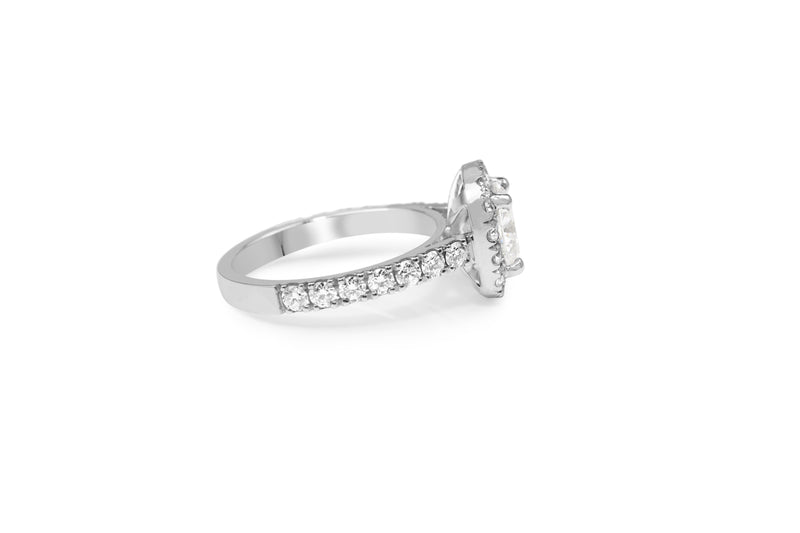 18ct White Gold Cushion Diamond Halo Ring