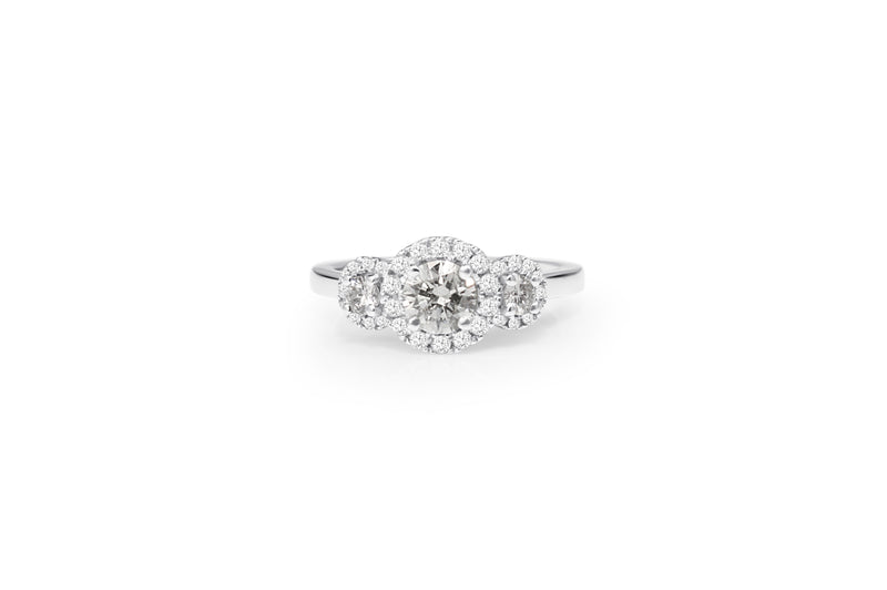 18ct White Gold Triple Halo Diamond Ring