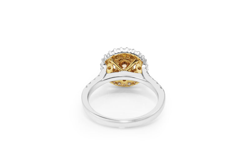 18ct White and Yellow Gold Cognac Diamond Ring