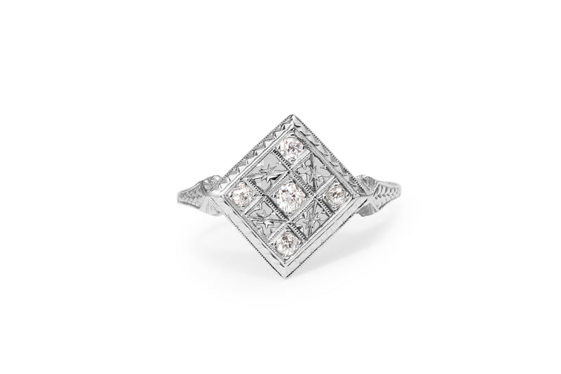 18ct White Gold Antique Old Cut Diamond Checkerboard Ring