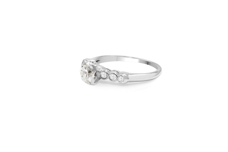 Platinum Old Cut Diamond Solitaire Ring