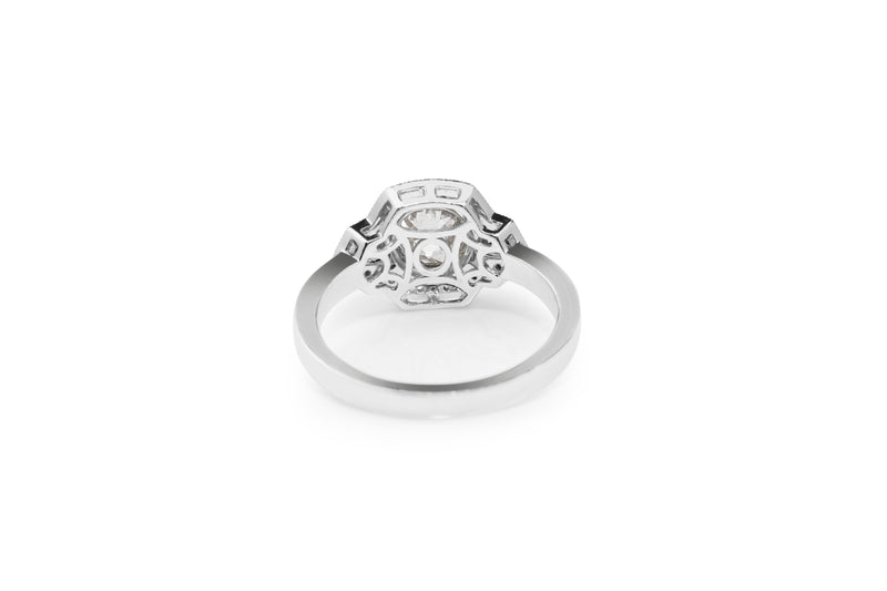 Platinum Old Cut Diamond Art Deco Style Ring