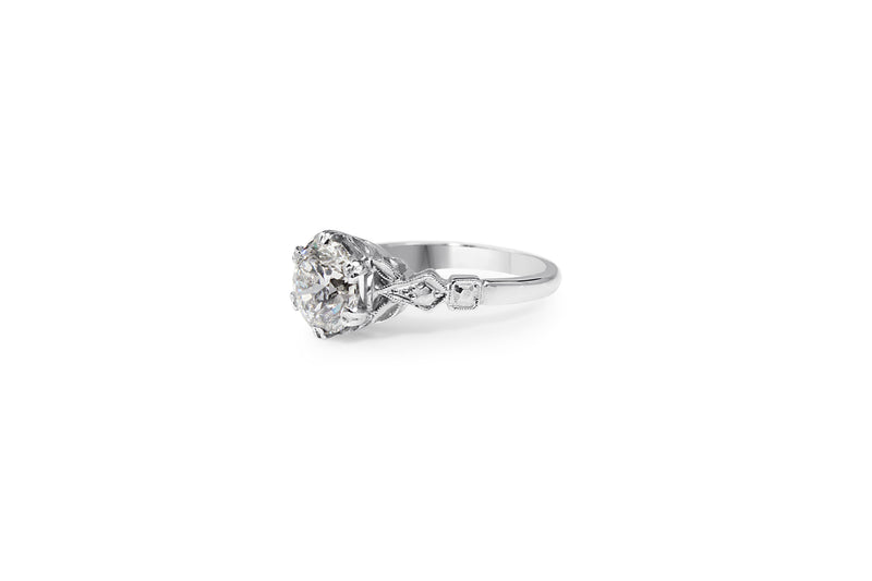 Platinum and 18ct White Gold Vintage Style Diamond Ring