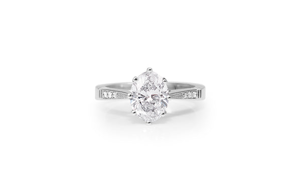 Platinum Oval Solitaire Diamond Ring