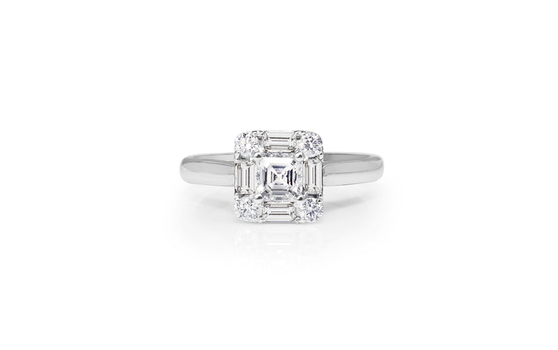 18ct White Gold Asscher Diamond Halo Ring