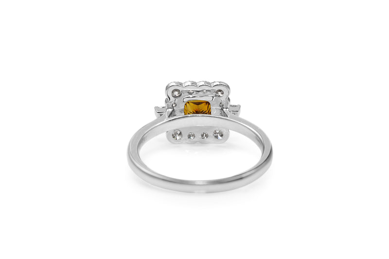 18ct White Gold Cognac Diamond Halo Ring