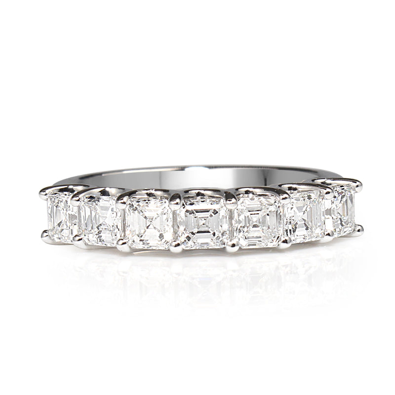 18ct White Gold Asscher Diamond Band