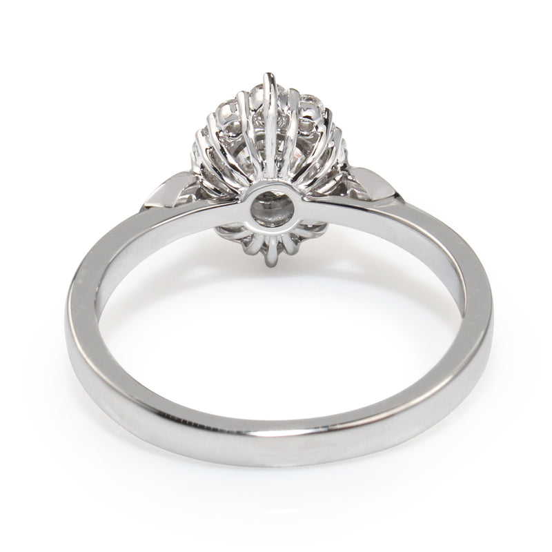 18ct White Gold Vintage Style Diamond Halo Ring