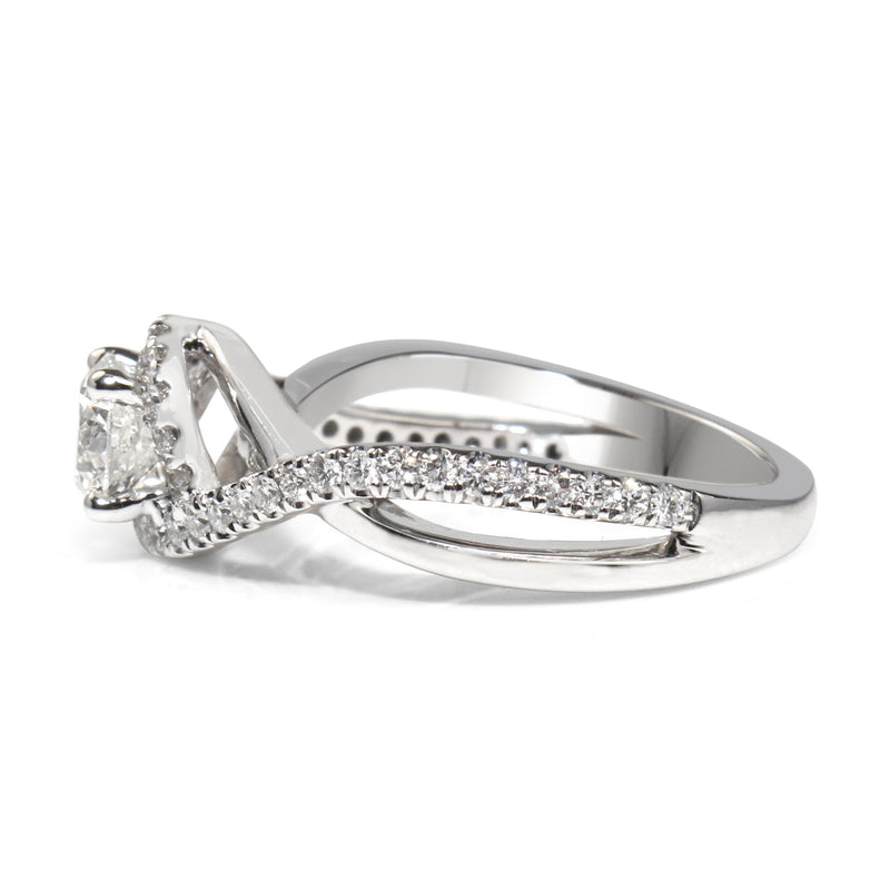 14ct White Gold Halo Twist Diamond Ring