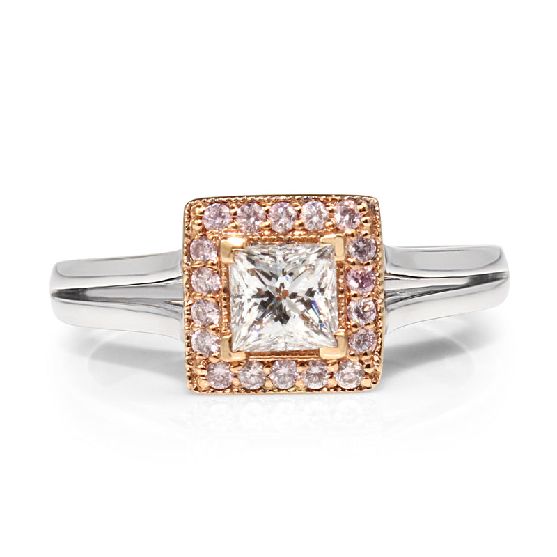 18ct White Gold White and Pink Diamond Halo Ring