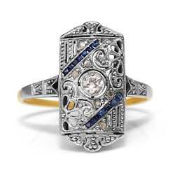 18ct White Gold Art Deco Diamond and Sapphire Ring