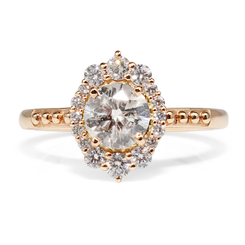 18ct Rose Gold Vintage Style Diamond Halo Ring