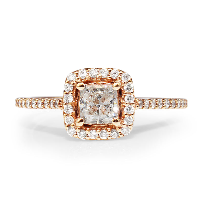 18ct Rose Gold Diamond Halo Ring