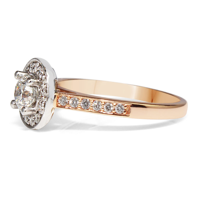 18ct White and Rose Gold Halo Diamond Ring