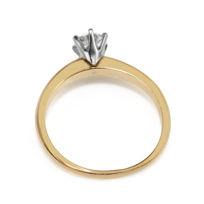 18ct Yellow and White Gold Solitaire Diamond Ring
