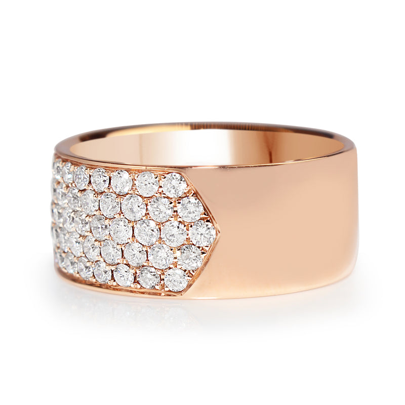 18ct Rose Gold Thick Diamond Band