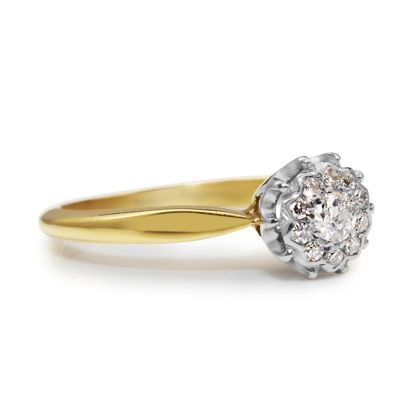 Platinum and 18ct Yellow Gold Old Cut Diamond Cluster Ring
