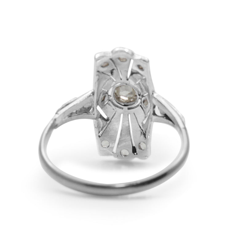 18ct White Gold Art Deco Old and Rose Cut Diamond Ring
