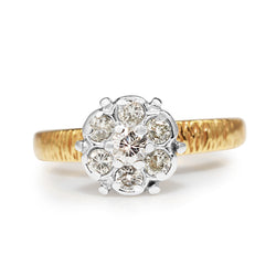 14ct Yellow and White Gold Diamond Cluster Ring