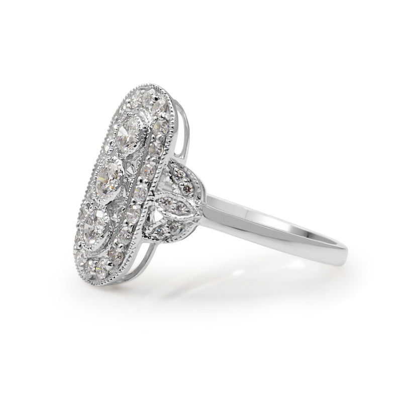 18ct White Gold Deco Style Diamond Ring