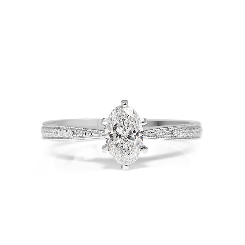 18ct White Gold Delicate Oval Diamond Solitaire Ring