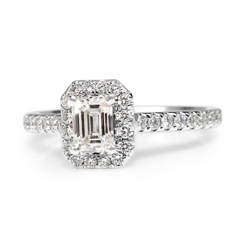 18ct White Gold Emerald Cut Halo Ring