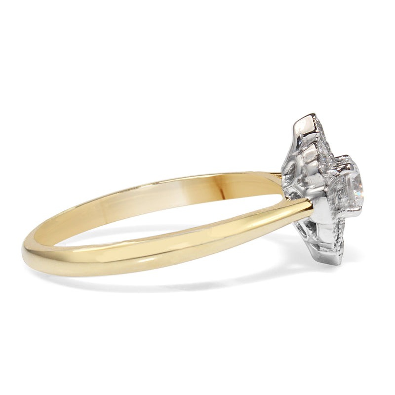 18ct Yellow and White Gold Deco Style Ring