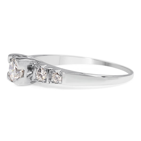 14ct White Gold and Palladium Diamond Ring