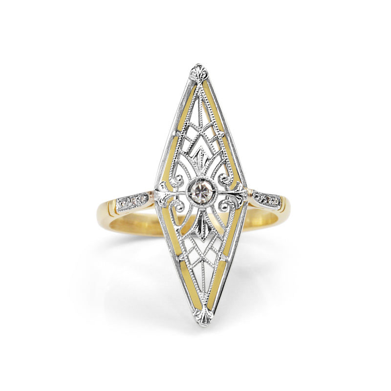 18ct Yellow Gold Art Nouveau Diamond Ring