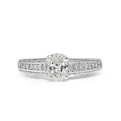 Platinum Oval Diamond Filigree Ring