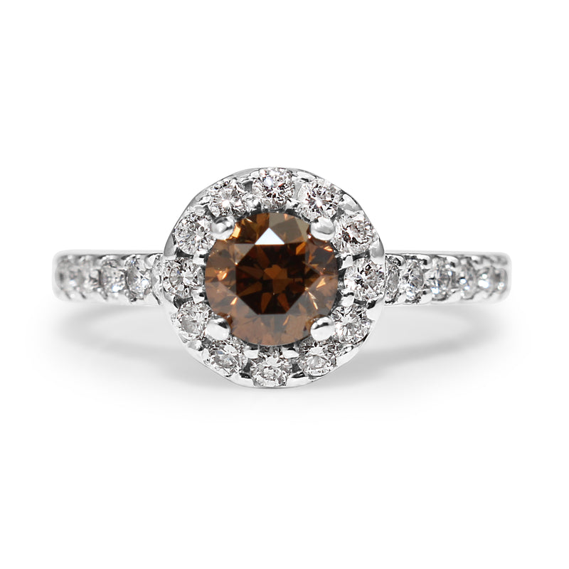 18ct White Gold Fancy Brown Diamond Halo Ring