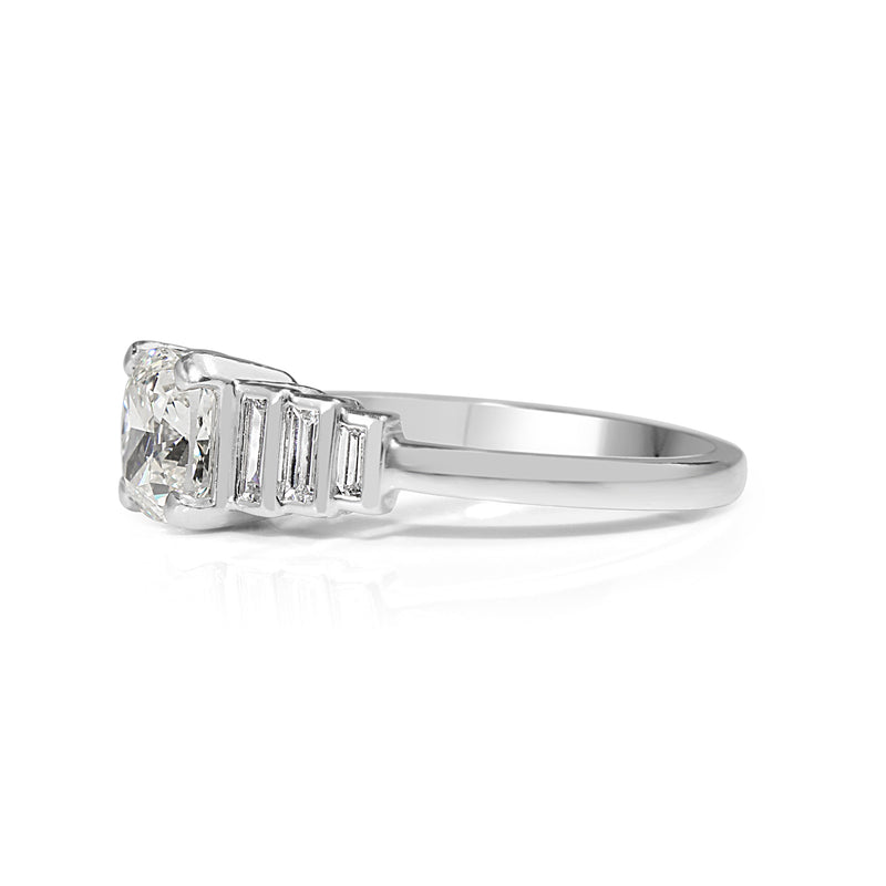 Platinum Cushion Stepped Down Diamond Ring