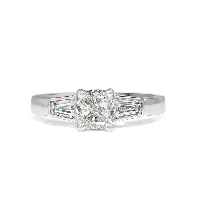18ct White Gold Cushion 3 Stone Diamond Ring
