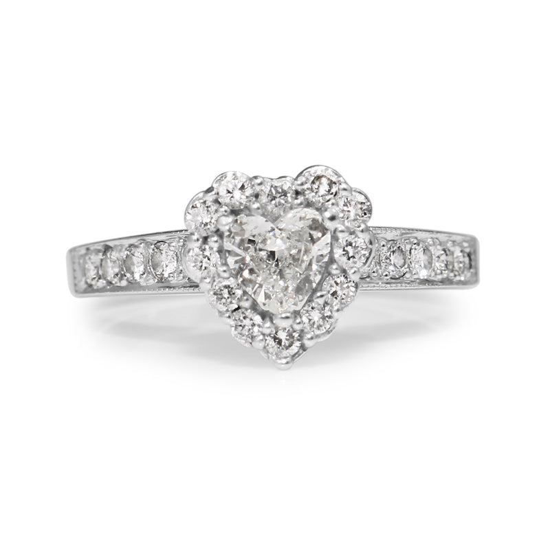 14ct White Gold Heart Halo Diamond Ring