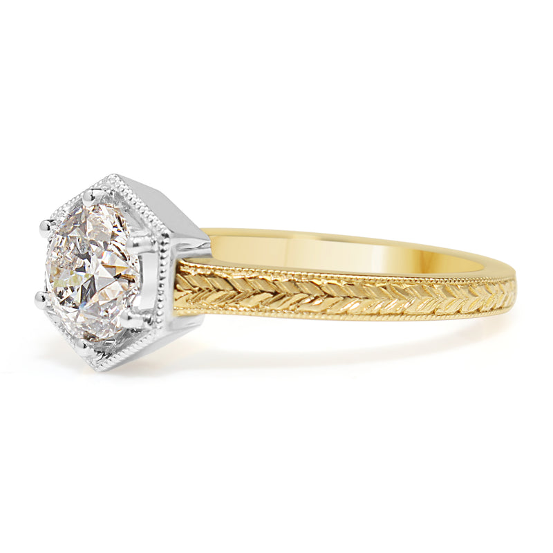 18ct Yellow and White Gold Vintage Style Diamond Ring