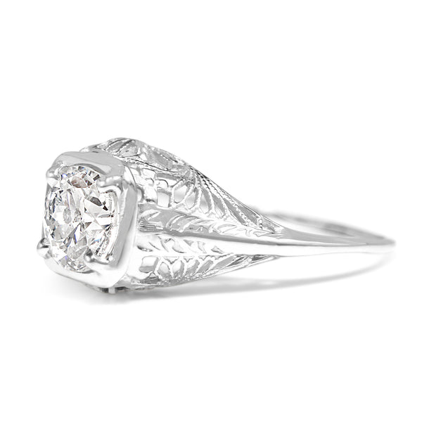 14ct White Gold Art Deco Diamond Solitaire Ring