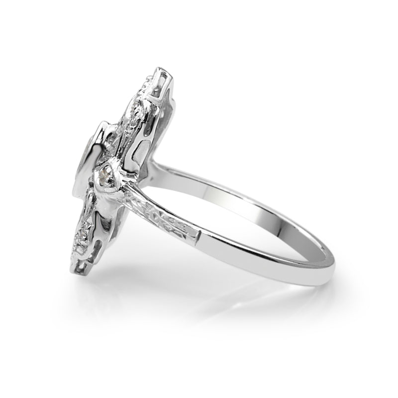 18ct White Gold Art Deco Replica Ring