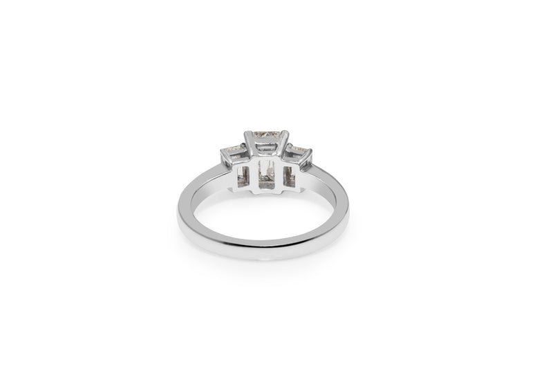 18ct White Gold Emerald Cut 3 Stone Diamond Ring