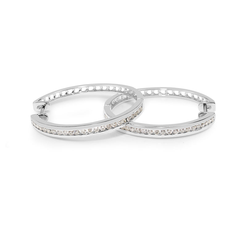 9ct White Gold Large Diamond Hoops