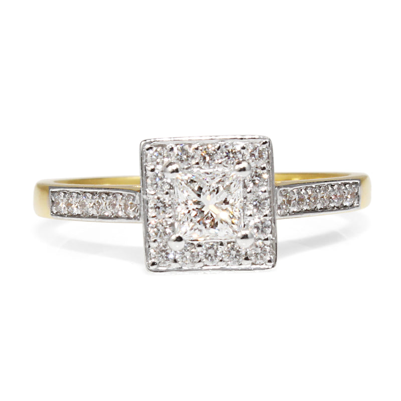 18ct Yellow and White Gold Square Halo Diamond Ring
